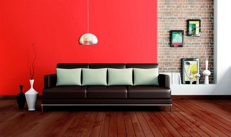 Красный цвет в зале, красный в интерьере гостиной