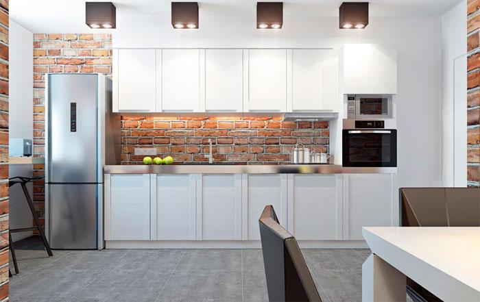 Фото. Современный интерьер гостиной, совмещенной с кухней, в индустриальном стиле