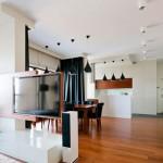 Современный дизайн гостиной с кухней в классическом стиле