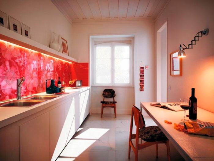 Оттенки красного в бежевой кухне