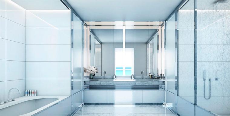 Дизайн ванной комнаты в белом цвете, c белой плиткой
