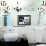 Черно-белые ванные комнаты – дизайн в стиле ретро, фото