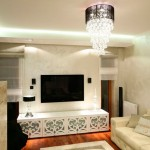 Дизайн стены с телевизором в гостиной