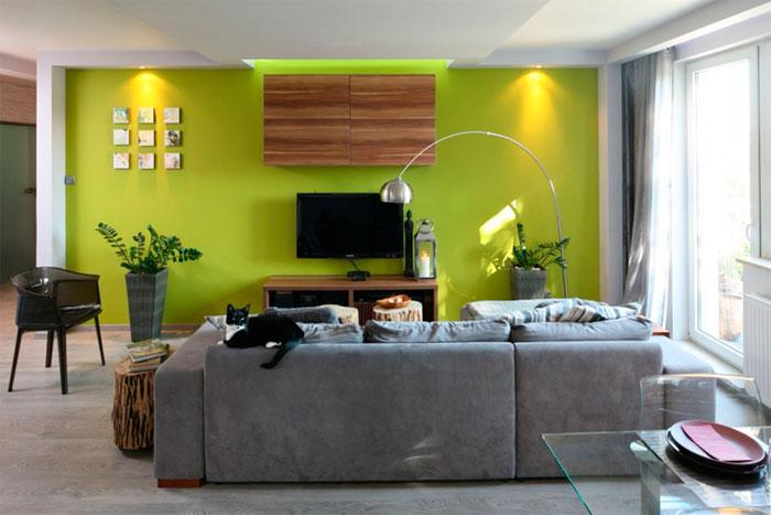 Современный дизайн стены с телевизором в гостиной