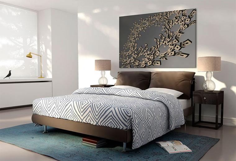 имитацией постер для спальни в холодных тонах как зажиточного