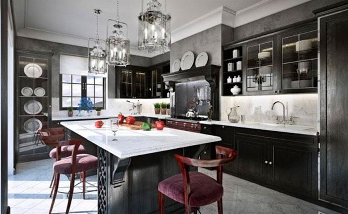 Фото. Серые стены в кухне