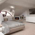 Фото. Спальня на мансарде, дизайн современный