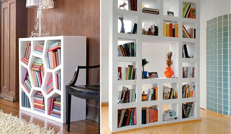 Стеллаж для книг в интерьере – фото