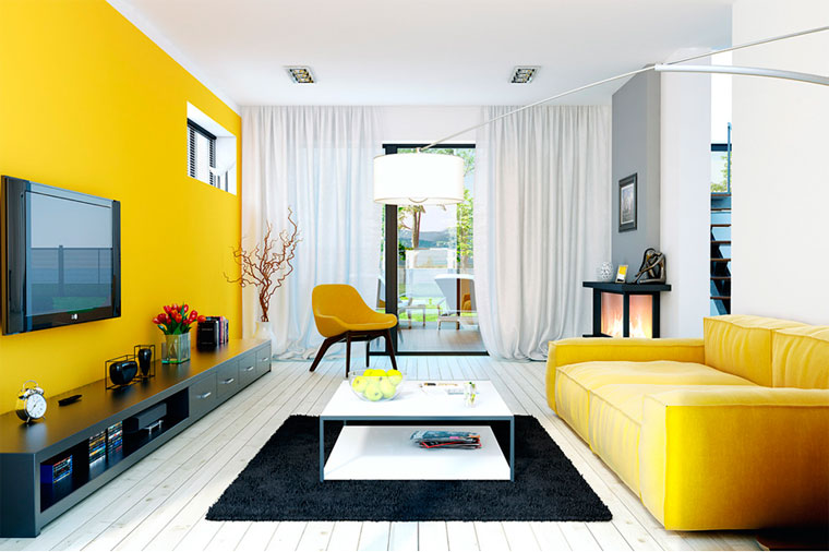 Гостиная желтого цвета