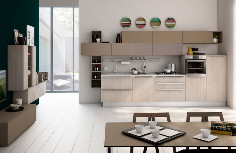 Кухня цвета кофе с молоком – фото