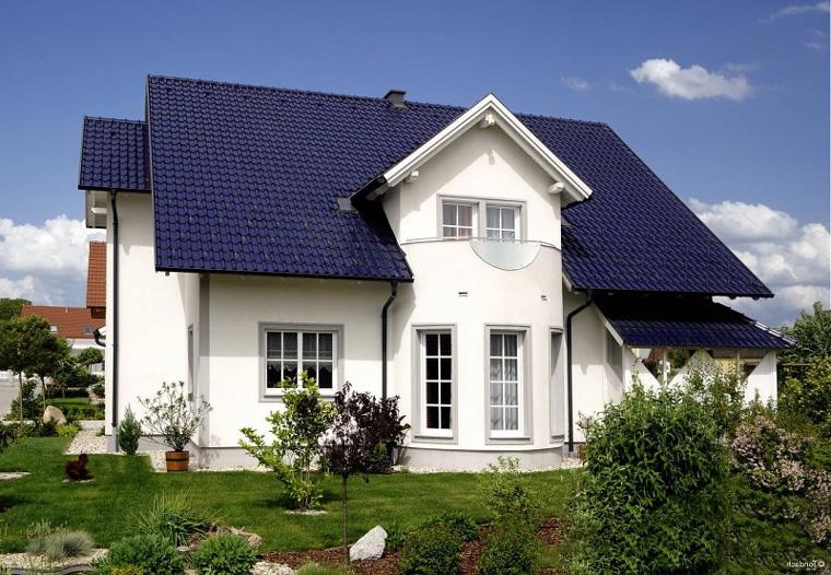 где фото фасад дома с синей крышей обои