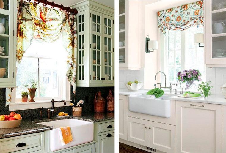 Модное оформление кухонного окна шторами
