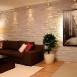 Отделка стен под камень в квартире – фото