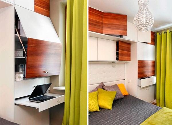 Маленькая спальня 9 кв м, дизайн фото рабочего стола в шкафу