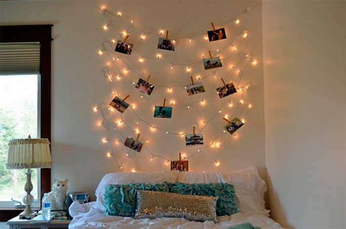 Как можно оформить стену в комнате фотографиями